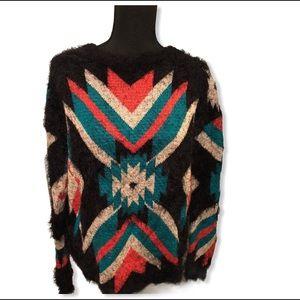 On Fire Fuzzy Cozy Aztec Sweater Size Medium
